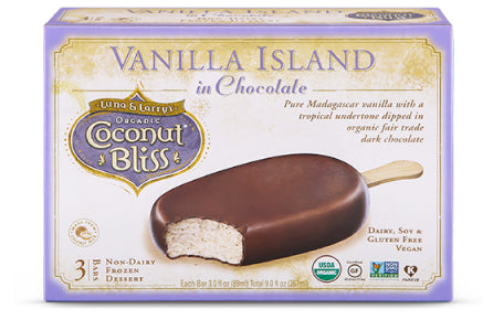Coconut Bliss Frozen Dessert Bars Vanilla Island in Chocolate (3 Bars)
