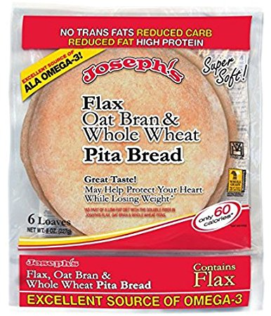 Joseph's Flax, Oat Bran and Whole Wheat Pita Bread (6 pitas)