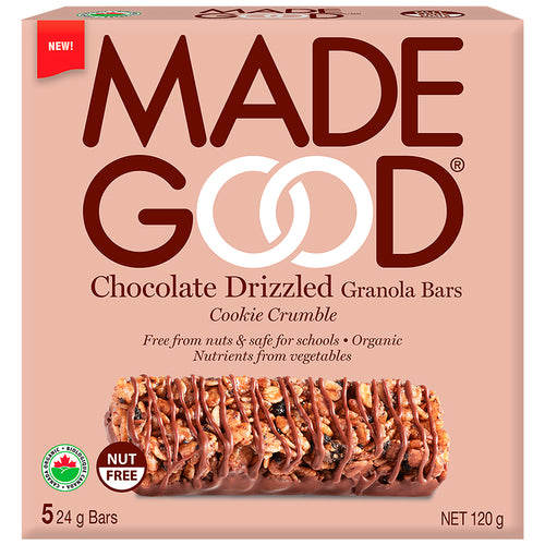 MadeGood Chocolate Drizzled Cookie Crumble Granola Bars (5 Bars)