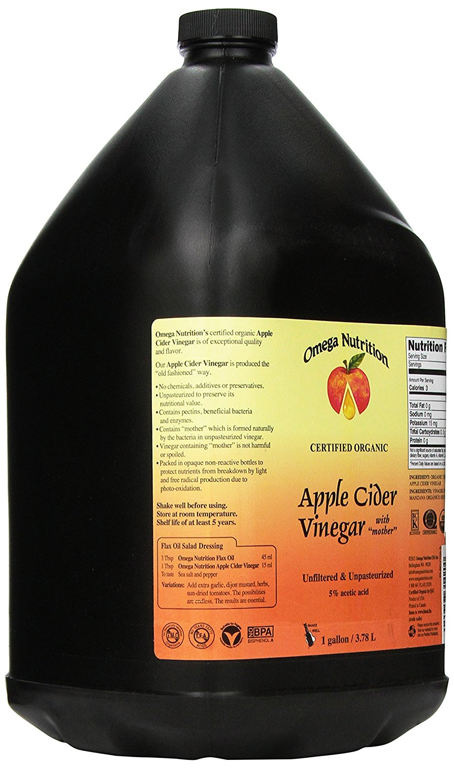 Omega Nutrition Apple Cider Vinegar (3.78L)