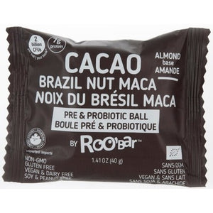 RooBar Cacao Brazil Nut Maca Probiotic Ball 40g