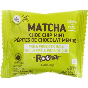 RooBar Matcha Choc Chip Mint Probiotic Ball 40g
