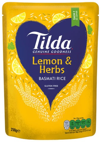 Tilda Lemon & Herbs Steamed Basmati Rice (250g)
