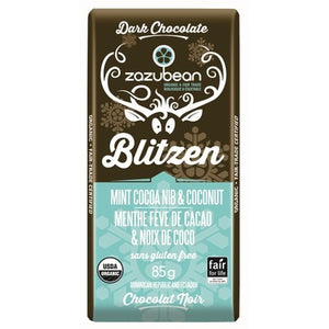 Zazubean Mint Cocoa Nib & Coconut Chocolate Bar (85g)