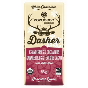 Zazubean White Chocolate Bar with Cranberries & Cocoa Nibs (85g)