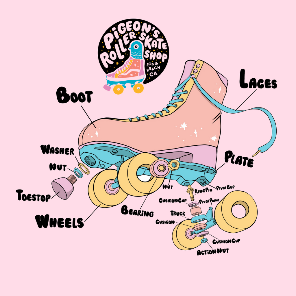 Roller Skate Anatomy - Learn about the plates, trucks, king pins, cushions, bearings, toe stops and more!