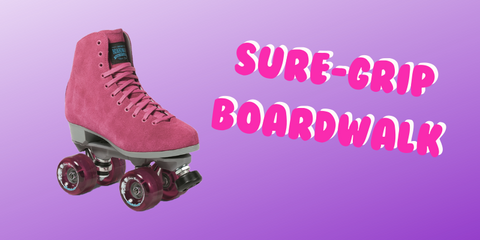 Dusty pink Sure-Grip quad roller skate