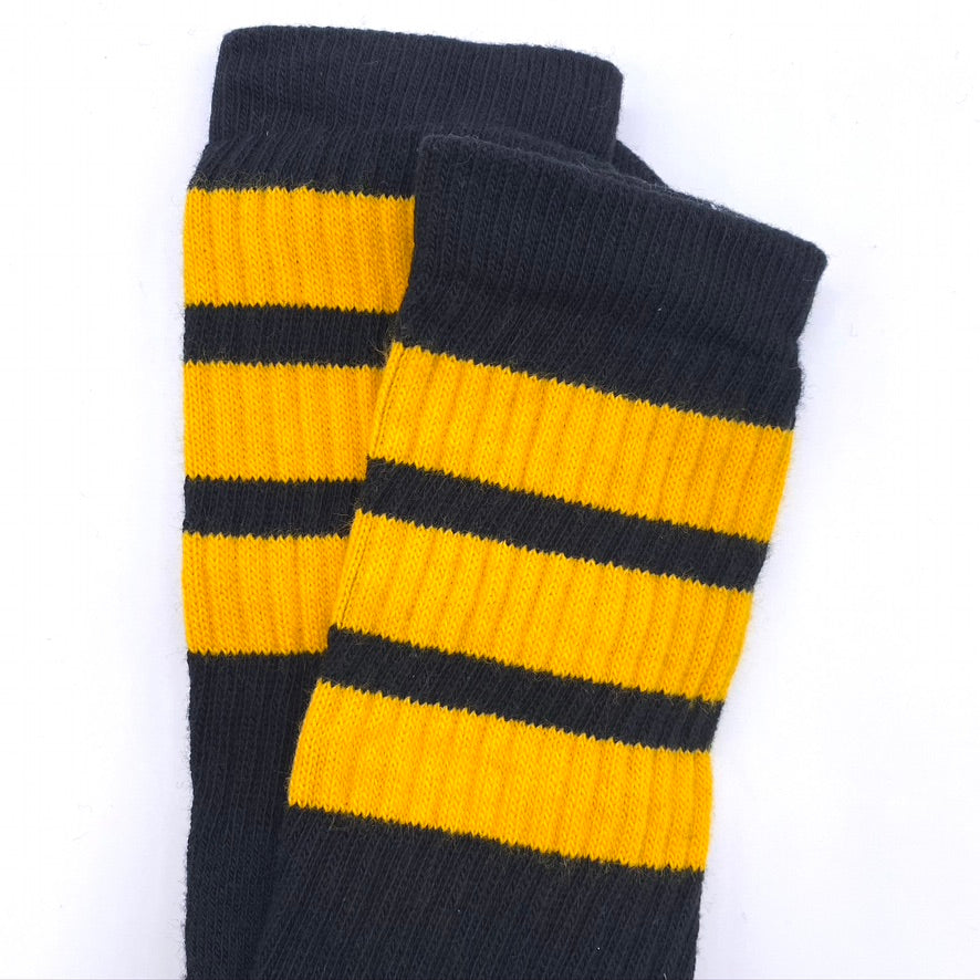 Skatersocks Black Tube Socks With Gold Stripes