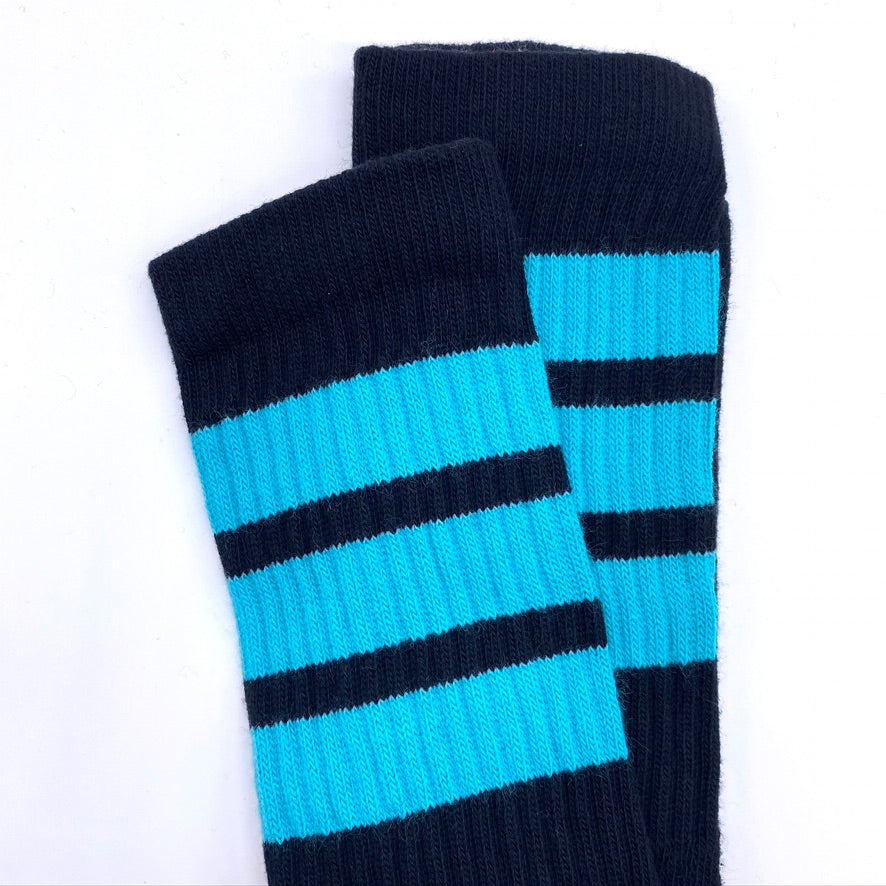 Skatersocks Black Tube Socks With Aqua Stripes