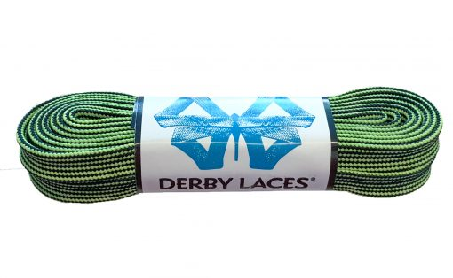 Black and Lime Green Stripe Waxed Derby Laces