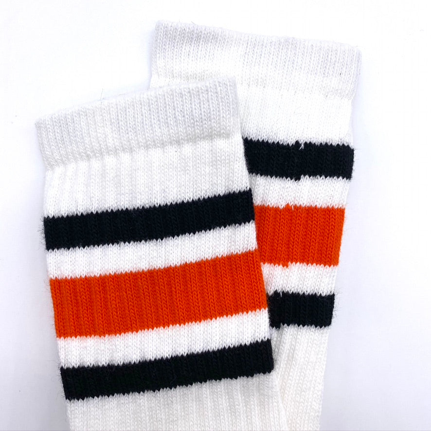 Crew Length Skatersocks White With Black and Orange Stripes