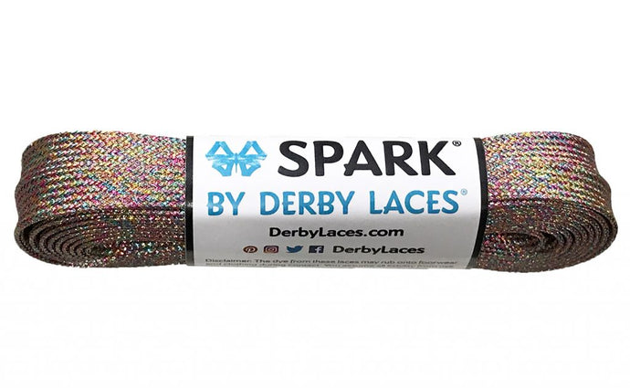 Rainbow Mirage Spark Metallic Sparkle Derby Laces
