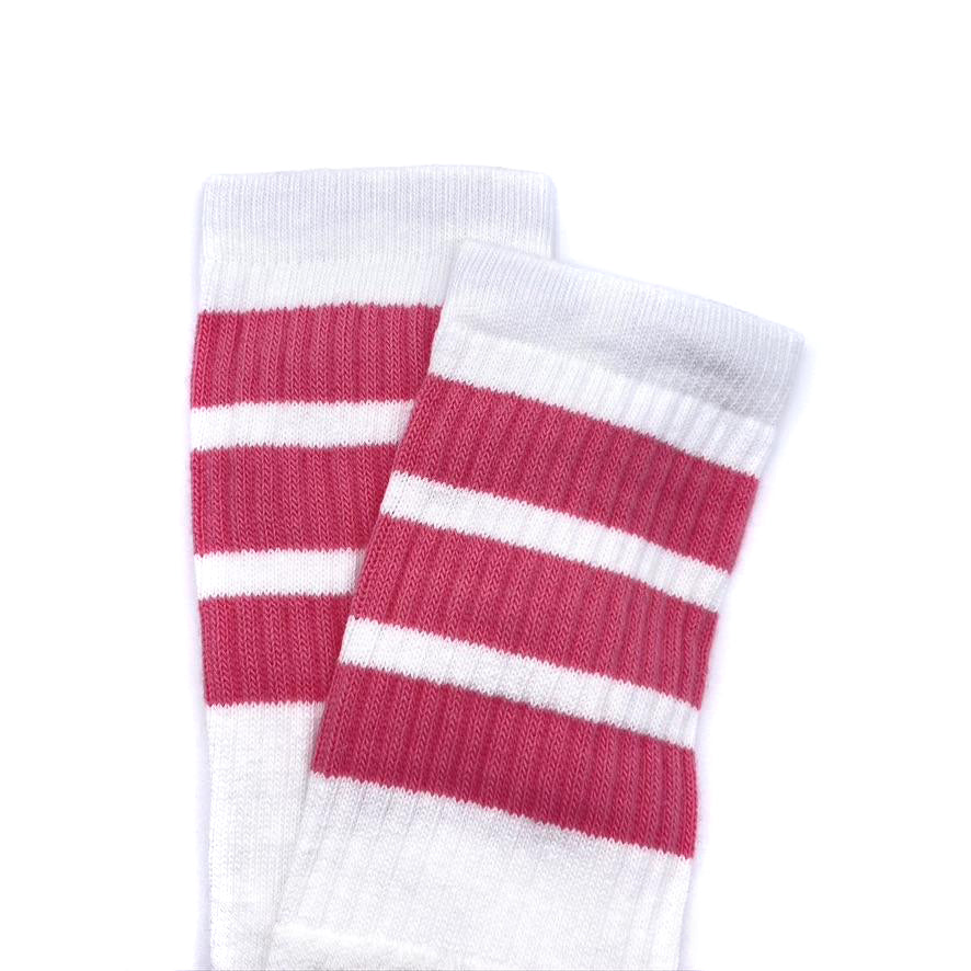 Crew Length Skatersocks White With Bubblegum Pink Stripes