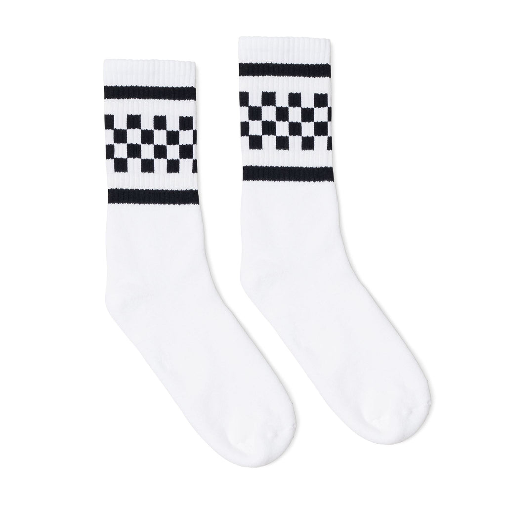 SOCCO Crew Socks White with Black Checkers