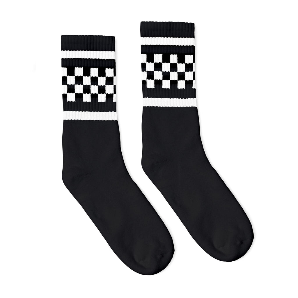 SOCCO Crew Socks Black with White Checkers