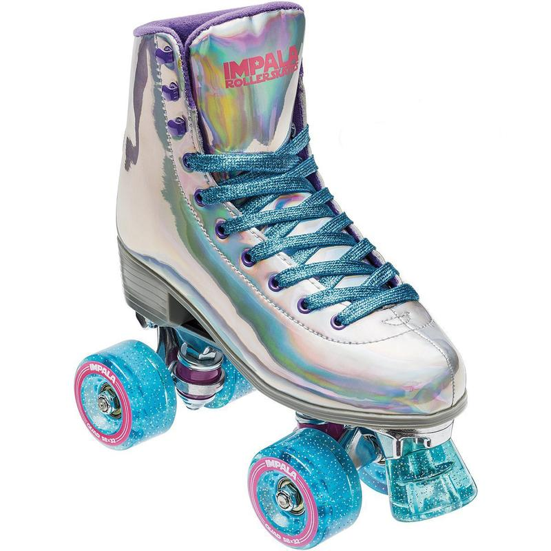 Grab your girl gang and get your roll on in the Holographic Roller Skates from Impala Rollerskates.