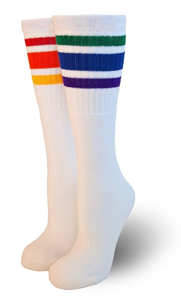 """Courage"" White Knee High Pride Socks"