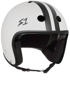 S1 Retro Lifer Helmet - CJ Collins Collab - White Matte w/ Black Stripes