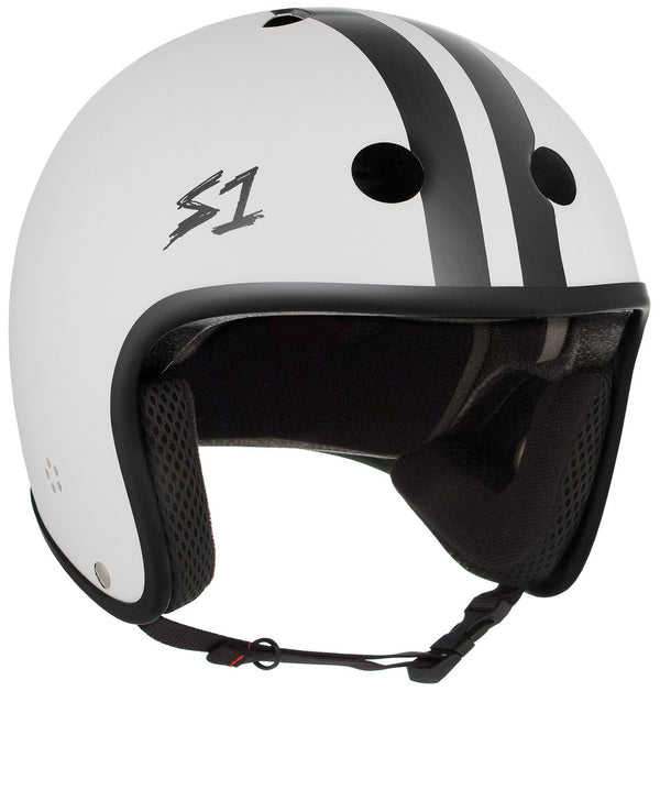 S1 Retro Lifer Helmet - White Matte w/ Black Stripes