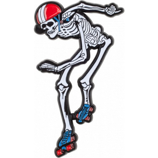Rollerbones Derby Skeleton Lapel Pin - Pigeon's Roller Skate Shop