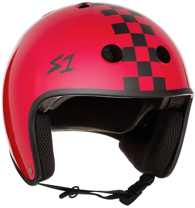 S1 Retro Lifer Helmet - Red Gloss W/ Checkers