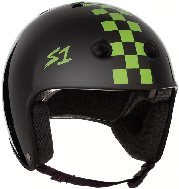 S1 Retro Lifer Helmet - Black Gloss With Bright Green Checkers