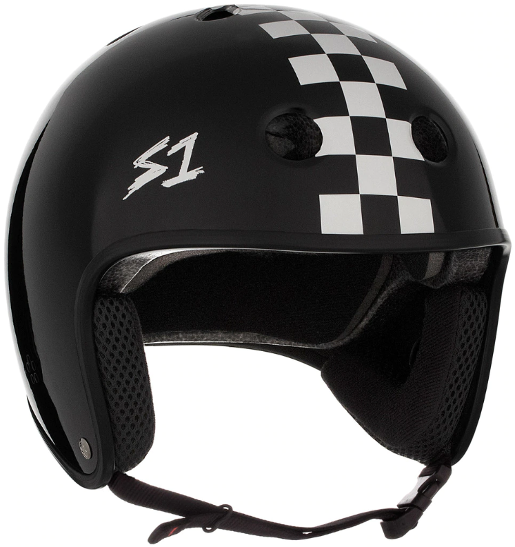 S1 Retro Lifer Helmet - Black Gloss With White Checkers