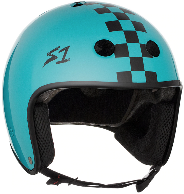 S1 Retro Lifer Helmet - Lagoon Gloss With Checkers
