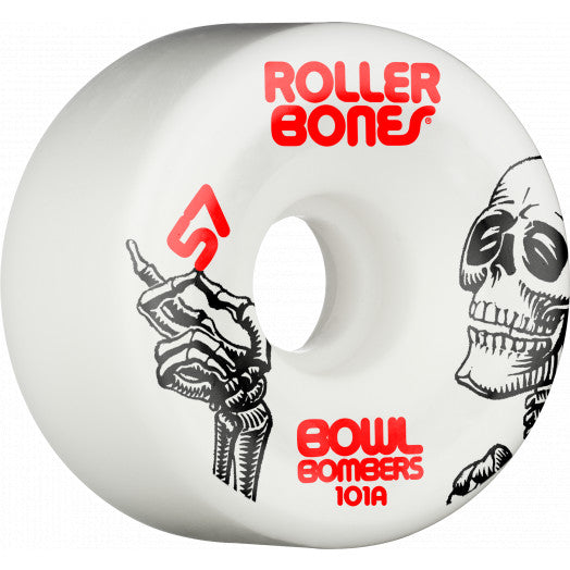 Rollerbones Bowl Bombers Wheels 101A - White (8-Pack)