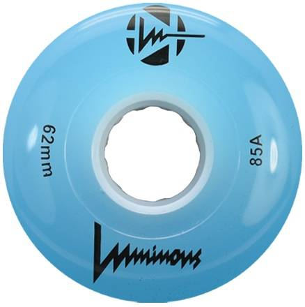 Blue Luminous wheel! Lights up when you skate, great for outdoors but can also be used inside.  Keeps you visible and safe during late night skates!  85A durometer, 62mm diameter.  Sold as singles, mix and match or build a set of 8!