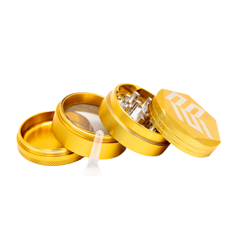 Gold Aluminum Herb Grinder with Pollen Screen - 50 mm