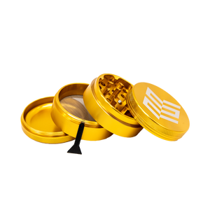 Gold Aluminum Herb Grinder with Pollen Screen - 63mm