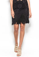 B44-5047 Silk lace cut out mini skirt