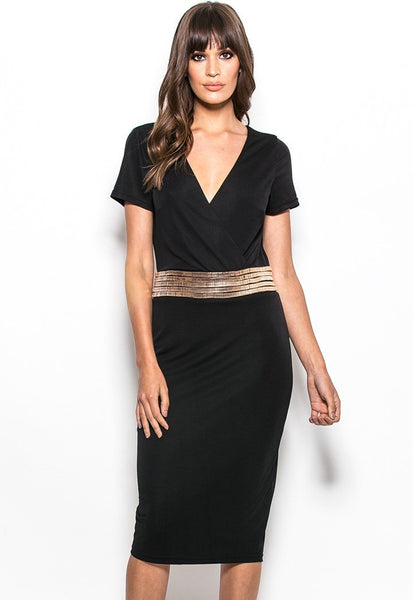 HI22-9288 Jersey gold chain waist midi dress