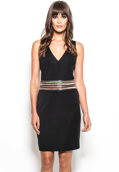 HI22-9286 Jersey chain waist shift dress