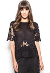 B44-1215 Silk lace cut out tee