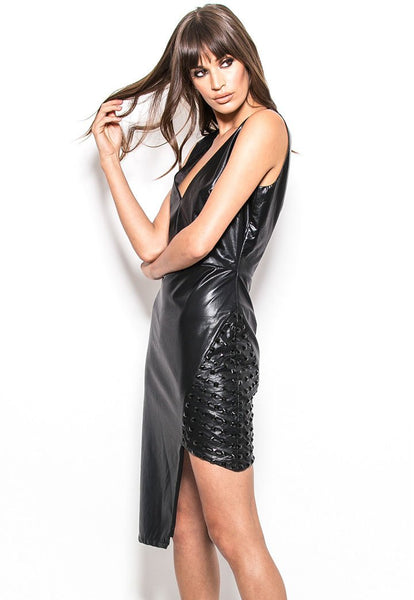 HX82-9267 Vegan stretch leather studded detail asymmetrical dress