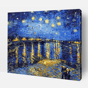 Paint By Numbers | Starry Night Over The Rhone Get ready to embark upon the journey of fun and self discovery ! Discover the artist in you and develop your creative side, mindfulness, love of colors, sense of satisfaction, and much more with this amazing Paint by Numbers Kit. Order your kit today or send us a photograph to be turned into a painting for you