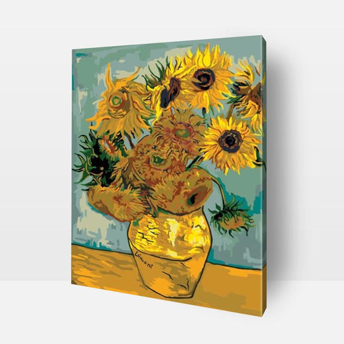 Paint By Numbers | Sunflowers | Van Gogh Get ready to embark upon the journey of fun and self discovery ! Discover the artist in you and develop your creative side, mindfulness, love of colors, sense of satisfaction, and much more with this amazing Paint by Numbers Kit. Order your kit today or send us a photograph to be turned into a painting for you