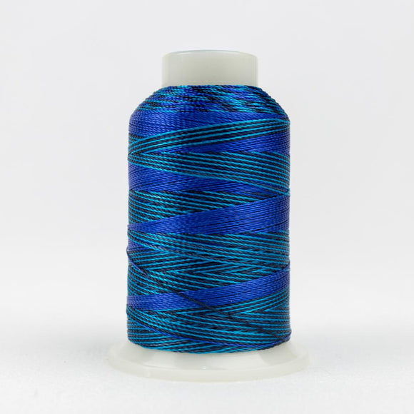 WonderFil 400m/437yd 12wt variegated thread  number ACM04 Mediterrean Blues