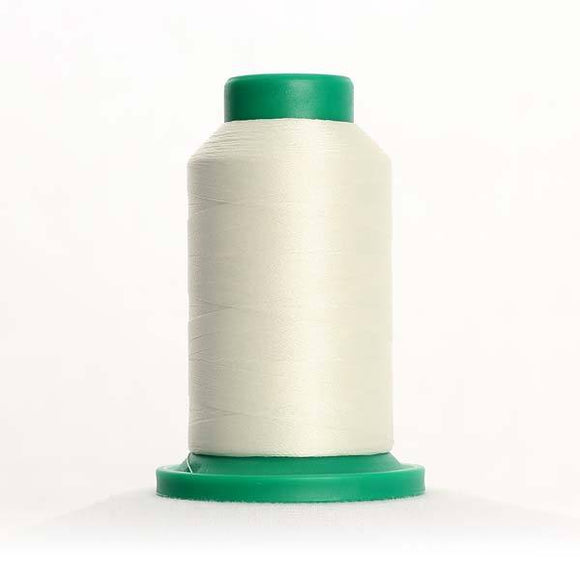 Isacord 5000m/5500yd 40wt solid trilobal polyester thread  number 0101 Eggshell