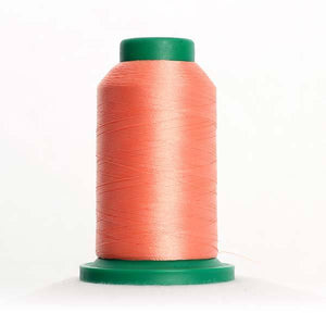 Isacord 5000m/5500yd 40wt solid trilobal polyester thread  number 1532 Coral