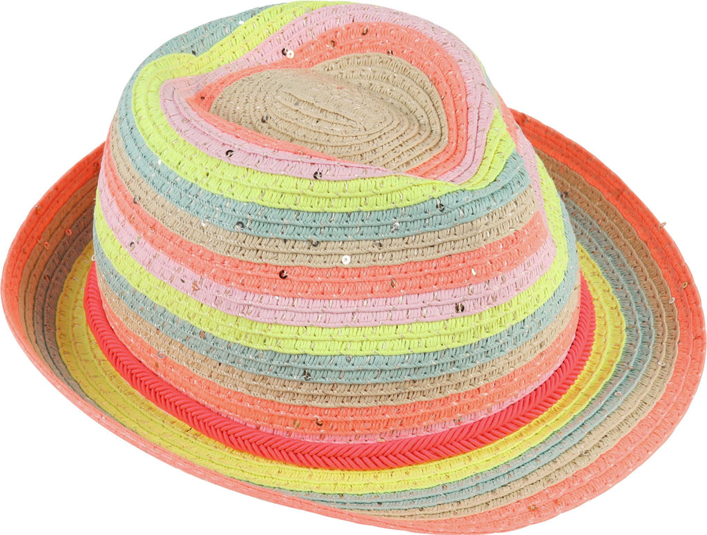 BILLIEBLUSH MULTICOLORED STRAW FEDORA Accessories Billieblush