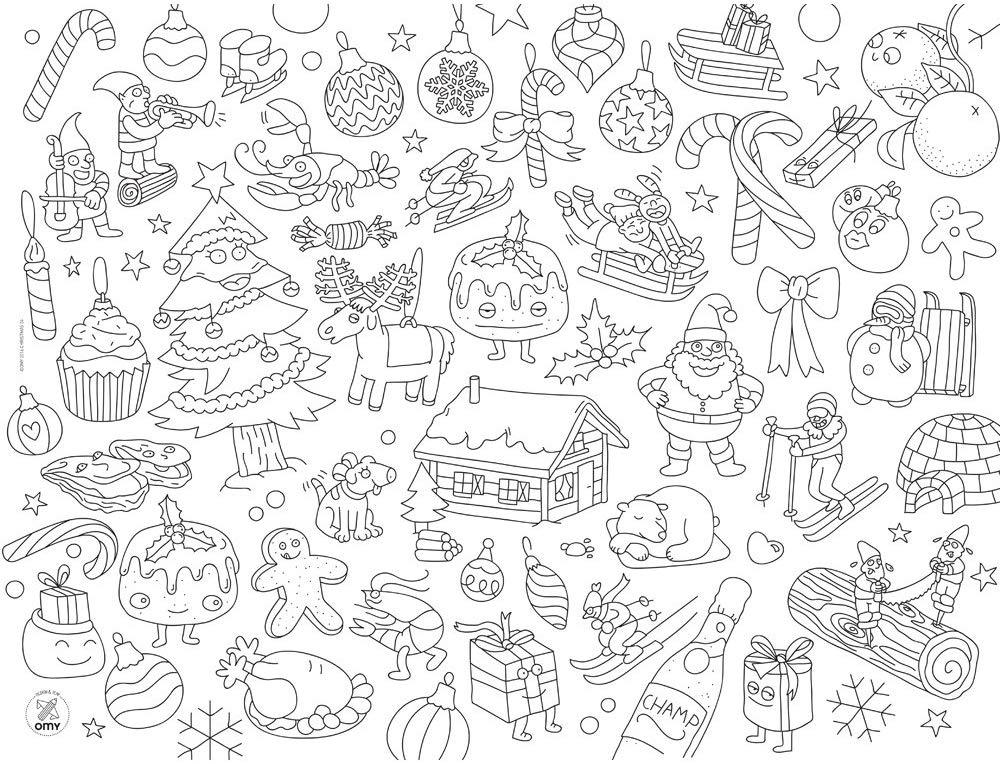 CHRISTMAS COLORING PLACEMAT Fun! Swoop