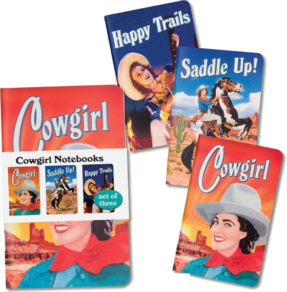 COWGIRL NOTEBOOKS SET OF 3 Fun! Swoop