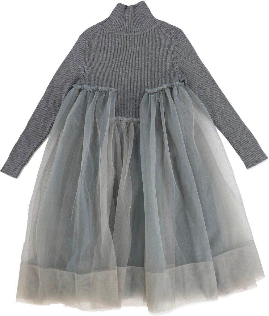 JNBY Grey Turtleneck Tulle Dress Dress JNBY