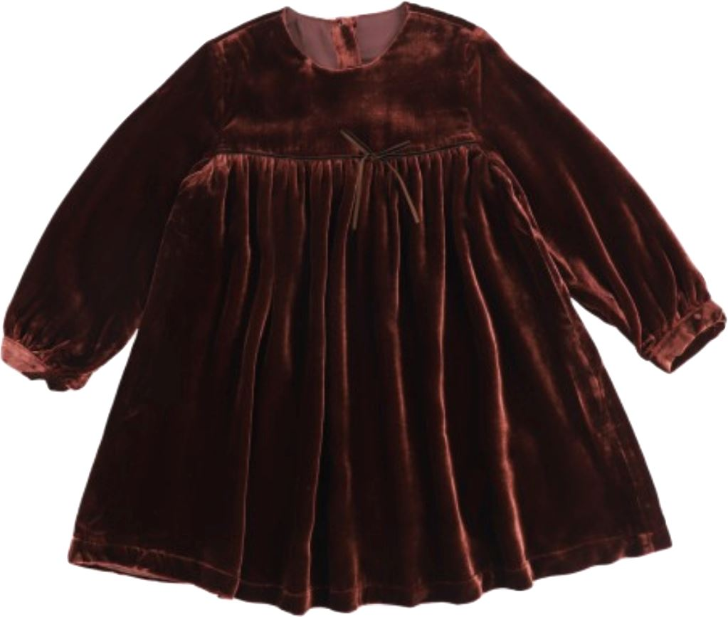 JNBY Long Sleeve Burgundy Velour Dress Dress JNBY