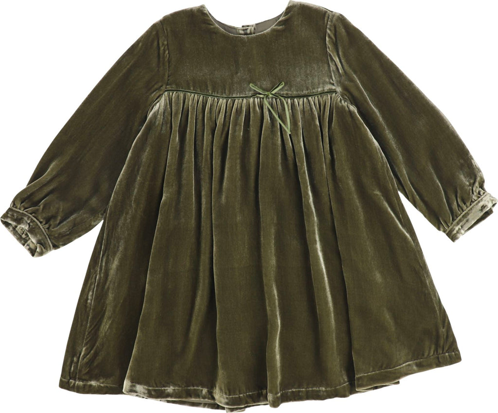 JNBY Long Sleeve Green Velour Dress Dress JNBY