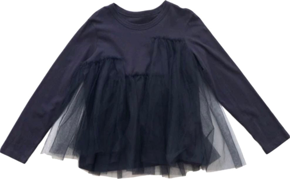JNBY Navy Long Sleeve Tulle Shirt Tops JNBY