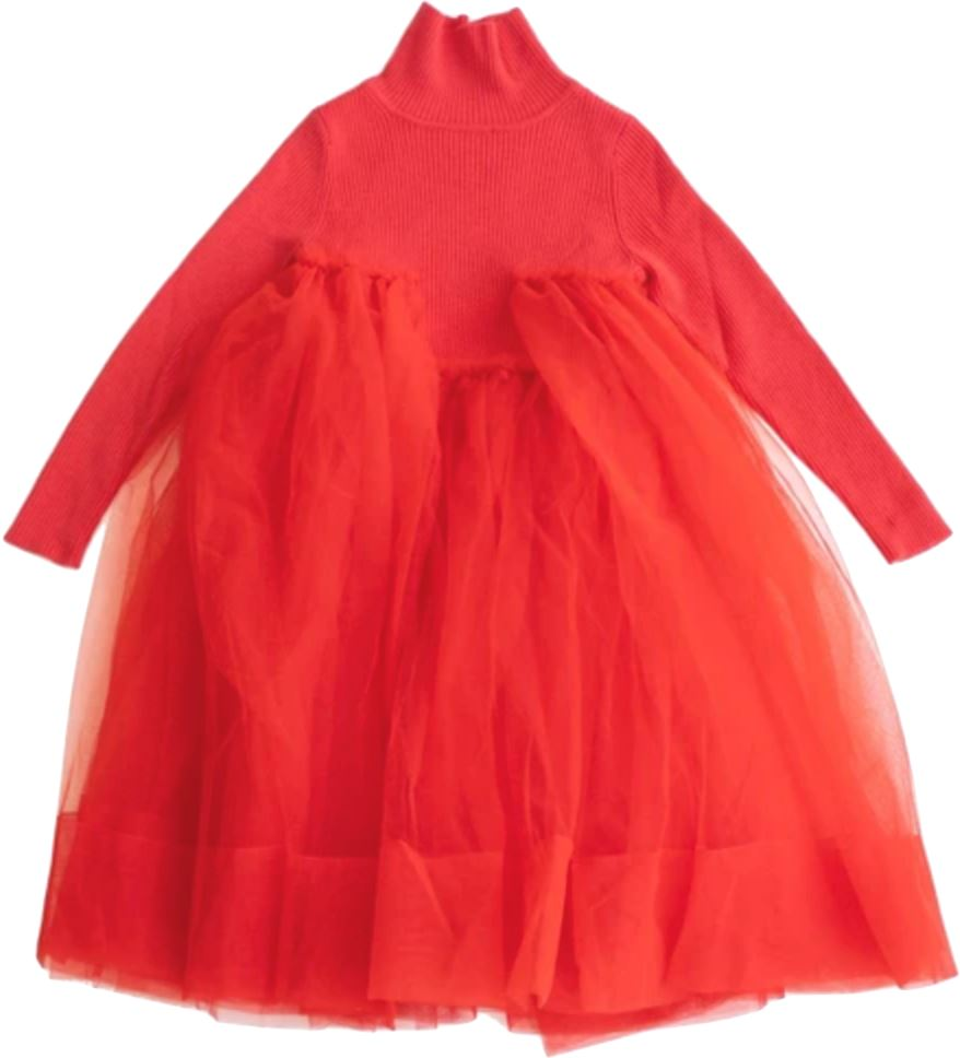 JNBY Red Turtleneck Tulle Dress Dress JNBY
